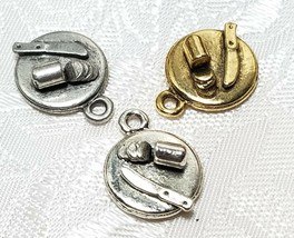 CHEESE BOARD SNACK PLATE FINE PEWTER PENDANT CHARM 13mm L x 16mm W x 5mm D