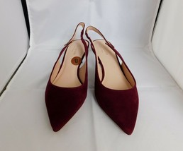 Kate Spade Shiloh Slingback Shoes Heels Maroon Suede Leather sz 8 New York New - $125.00