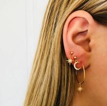 4Pcs/Set Bohemian Large Circle Earrings Ear Clip Crystal Moon Star Stud ... - $5.99