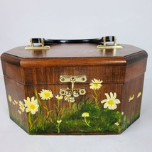 Vintage LaVerne Hand Painted Wood Purse ART Daisies Box Bag 9.5x6.5x5 In... - $62.99