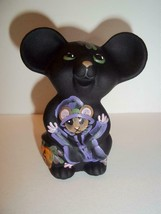 Fenton Glass Black Halloween Witch Mouse Figurine by CC Hardman NFGS Ltd... - $145.02
