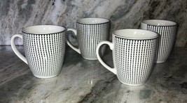 Royal Norfolk White Striped Stoneware Coffee Mugs Dinnerware Cups-Set Of 4-RARE - $49.38