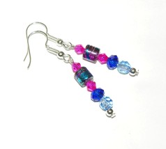 Foiled Glass and Crystal Earrings, Blues and Pink, Handmade - $4.99