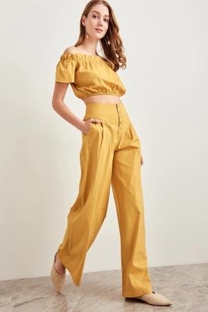 New mustard yellow high waist wide leg bell women pants trousers fall autumn