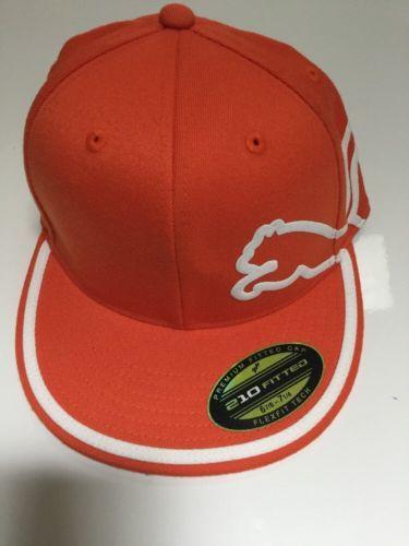 PUMA Cat 210 Fitted Orange FlexFit Hat Ball Cap 6 7/8 - 7 1/4 Mens New