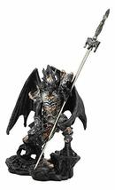 Ebros Gift Faux Stone Elemental Ghost Dragon with Battle Armor and Long Sword Le - $26.99