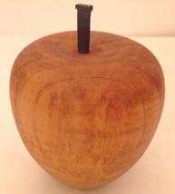 Vintage Turned Wood Apple Solid Rustic Decor Iron Stem Light Brown Handc... - $16.68