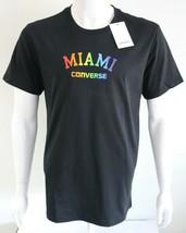 Converse Miami Mens Graphic Tee Black 100% Cotton Size L T-Shirt - $23.85