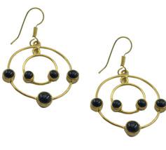 Black Gold Plated Fashion fine black onyx jewellery Earring AU gift - $11.47