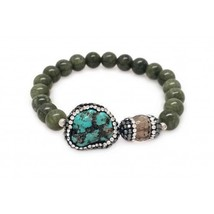 Natural Agate & Turquoise Stretch Bracelet (815BR109) - $24.00