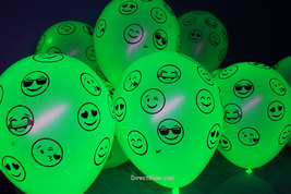 25 Pack Neon Yellow 11 inch UV Blacklight Reactive Latex Emoji Balloons - $16.95