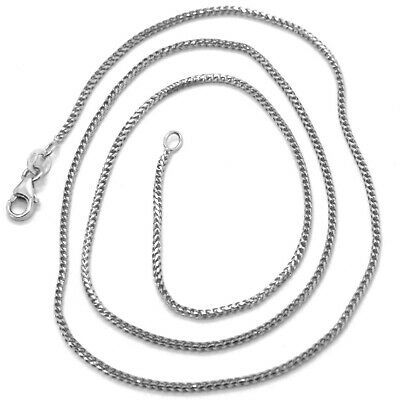 18K WHITE GOLD CHAIN 1.2 MM SQUARE FRANCO LINK, 16 INCHES, 40 CM MADE IN ITALY