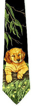 Willow Pup Men's Silk Necktie Endangered Species Retriever Pet Black Nec... - $19.75