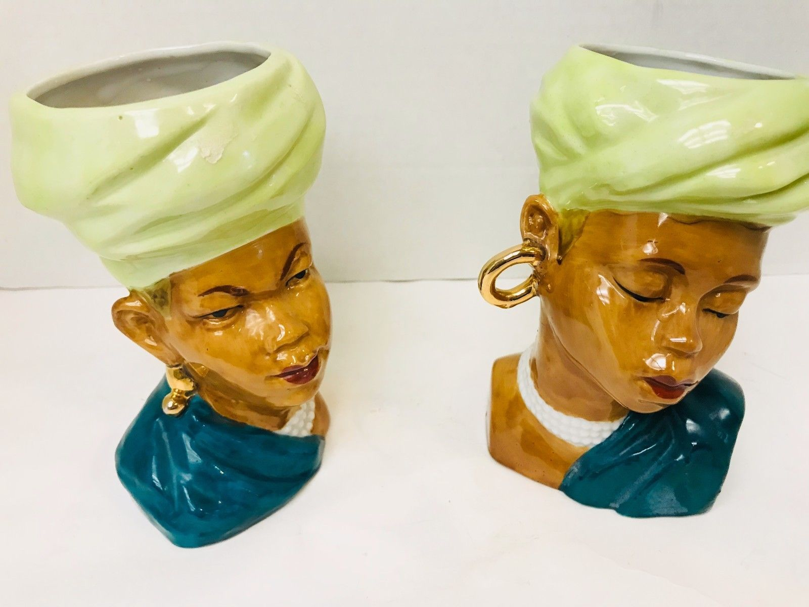 Primary image for Ethnic Women and Man Bust Heads Large Gold Earrings Made in Japan 6 X 3 X  31/2