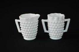 Fenton Hobnail Milk Glass Mini Creamer & Sugar #3702 MI - $9.90