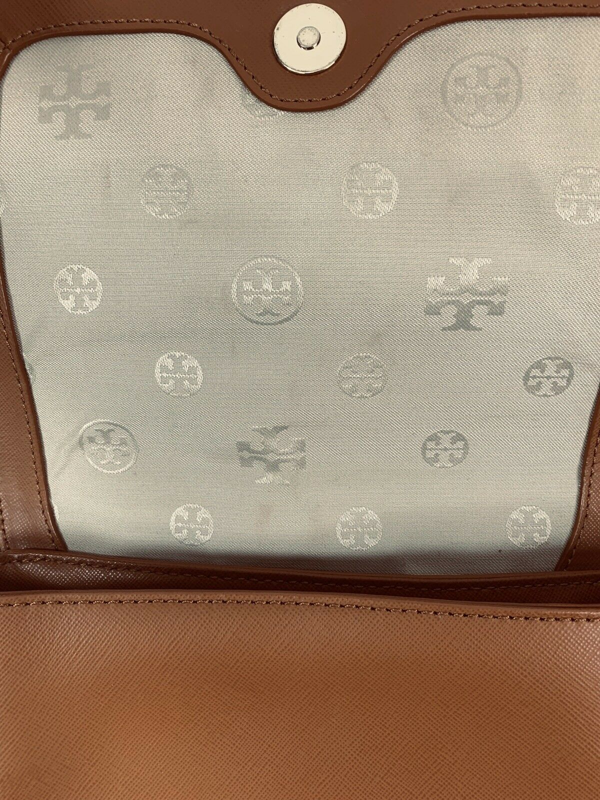Tory Burch Robinson Chain Strap Tiger's Eye Brown Leather Crossbody Bag image 4