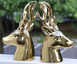 STUNNING PAIR GOLD STONEWARE STAG DEER HEAD HUNTING DECOR STATUES BUST T... - $193.32
