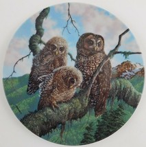 Knowles Jim Beaudoin Woodland Watch Spotted Owls Plate Under Mothers Win... - $29.70