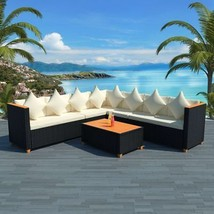 vidaXL Garden Sofa Set 25 Piece Wicker Poly Rattan Black WPC Outdoor Furniture - $695.99