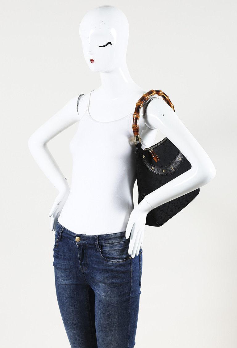 "Gucci Original GG Canvas Bamboo ""Anita"" Shoulder Bag"