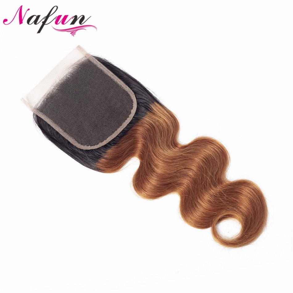 Primary image for NAFUN Body Wave 4x4 Lace Closure #T1B/30 Indian Hair Pre colored Non Remy Hair O