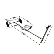 "Stainless Steel Boat Launching Trailer Hand Dolly for Inflatable with 16"" Wheels image 2"