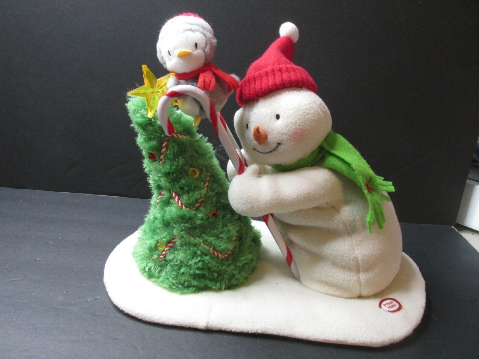 Primary image for L1 Hallmark Jingle Pals Snowman Penguin Trimming The Tree Ladder Plush Stuffed