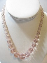 ART DECO MULTIFACETED CRYSTAL VINTAGE NECKLACE GRADUATED BEADED PINK CHA... - $59.00
