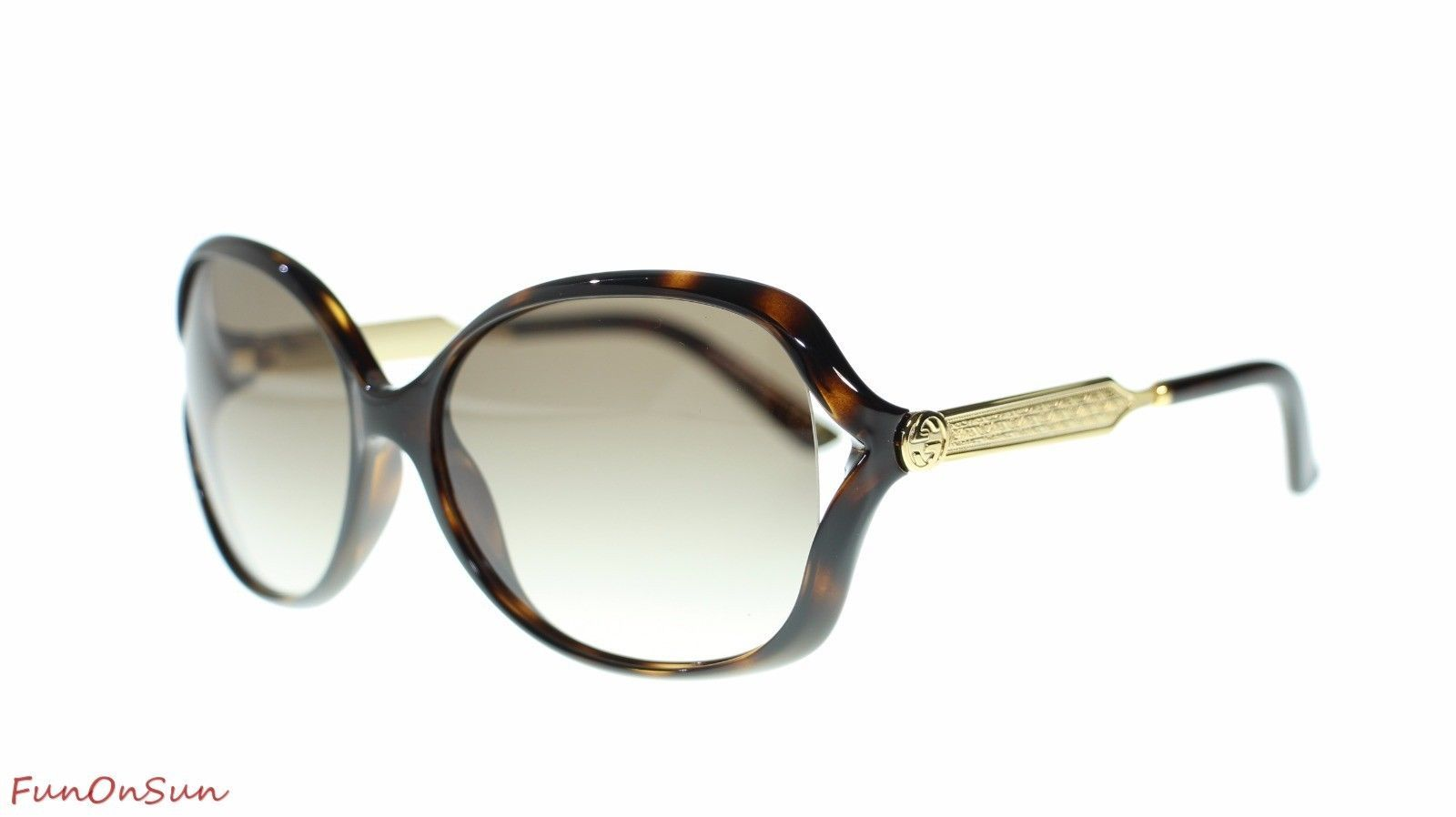3099017597 10. 10. Previous. Gucci Women Oval Sunglasses GG0076S 003 Havana Gold Brown  Lens 60mm Authentic