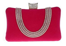 New Rhinestone Quilted Clutch Evening Bag Wedding Package 3-Rose Red