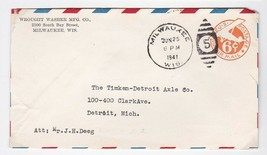 WROUGHT WASHER MFG. CO. MILWAUKEE WIS JUN 25 1941 ON AIRMAIL COVER - $1.78
