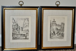 Pair of Rothenburg Etching Prints by Fleck Bros Hand Signed Framed  - $95.00
