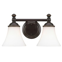 Hampton Bay Crawley 2-Light Oil-Rubbed Bronze Vanity Light w/ White Glas... - $914,48 MXN