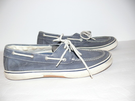 Sperry Top-Sider Bahama 2-eye Boat Shoes Gray Canvas Mens Size 11 M mc - $24.99