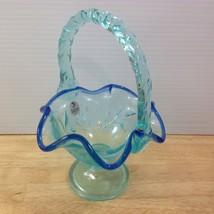 Fenton Dark & Light Blue Leaf Basket Applied Handle Crimped Edge Foil Label - $46.74