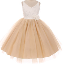Flower Girl Dress V Neck Two Tone Lace Top Tulle Skirt Champagne TR 1033 - $53.45+
