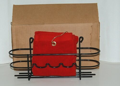 MHP Red Towel with Clip Black Plastic Coated Accessory Rack