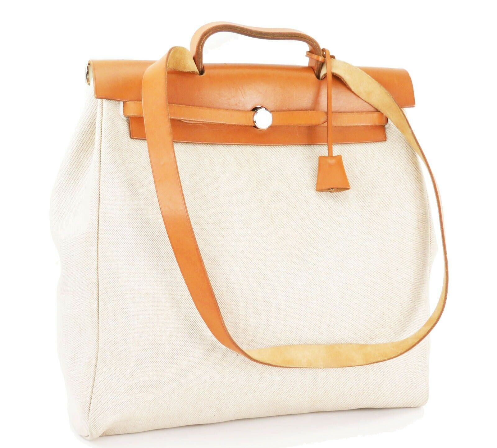 Auth HERMES Her Bag 2 in 1 Beige Canvas and Leather Hand Shoulder Bag #26110 image 2