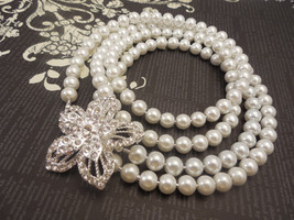 Elegant, Long One Strand, 8mm White Glass Pearl Necklace with Rhinestone... - $56.00