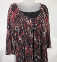 Dressbarn Knit Tunic Top Women's Red Black Ikat Print 14/16 Swing Buttons   - $29.69