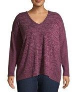 Terra & Sky Women's Plus V Neck Long Sleeve Thermal Top Size 1X (16-18W)... - $15.83