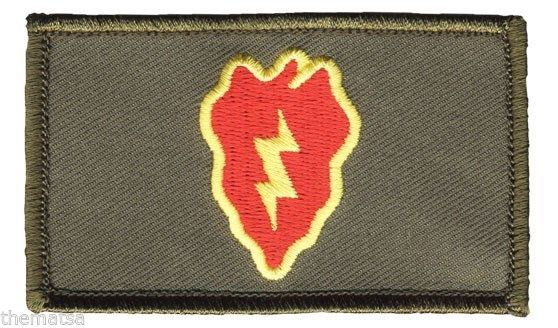 ARMY 25TH INFANTRY DIVISION  2 X 3  EMBROIDERED OD GREEN PATCH WITH HOOK LOOP