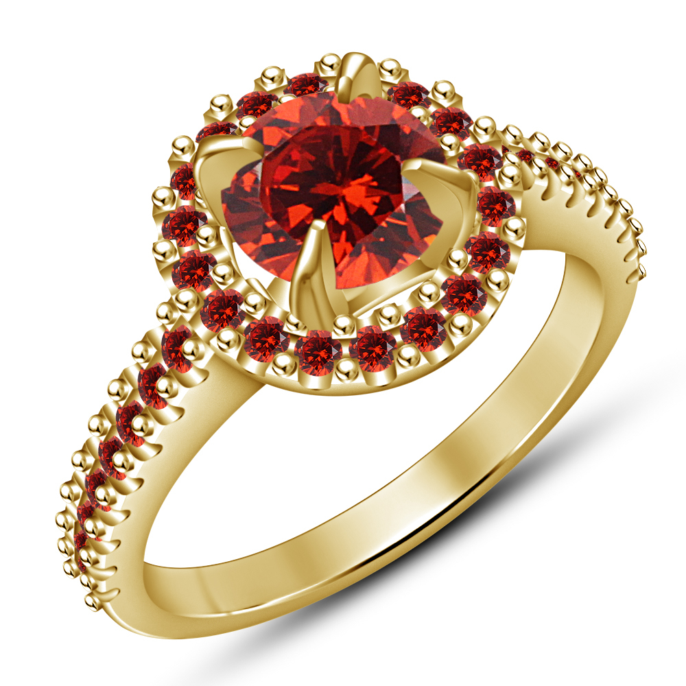 925 Pure Silver 14k Yellow Gold Plated Round Red Garnet Bridal Wedding Ring Set