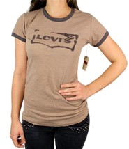 NEW NWT LEVI'S WOMEN'S PREMIUM CLASSIC GRAPHIC COTTON T-SHIRT SHIRT TEE BROWN