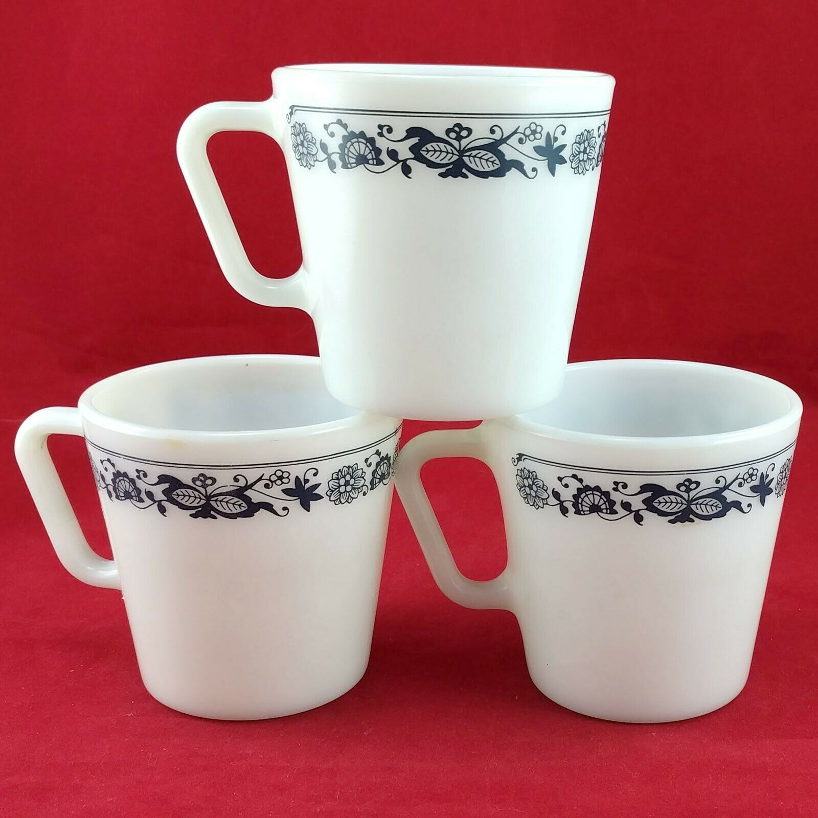Pyrex 1410 Coffee Cups Vintage Old Town Blue ~ Set of 3 ~ Made in the USA image 3