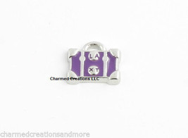 Purple Luggage Purse Tote Bag Silver Tone Floating Charm For Glass Memory Locket - $2.96