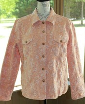 Orvis Large Paisley Print Cotton Blend Stretchy Button Front Peach Jacke... - $19.94