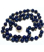 14k LONG LAPIS Lazuli NECKLACE 14K YELLOW GOLD - $1,258.75