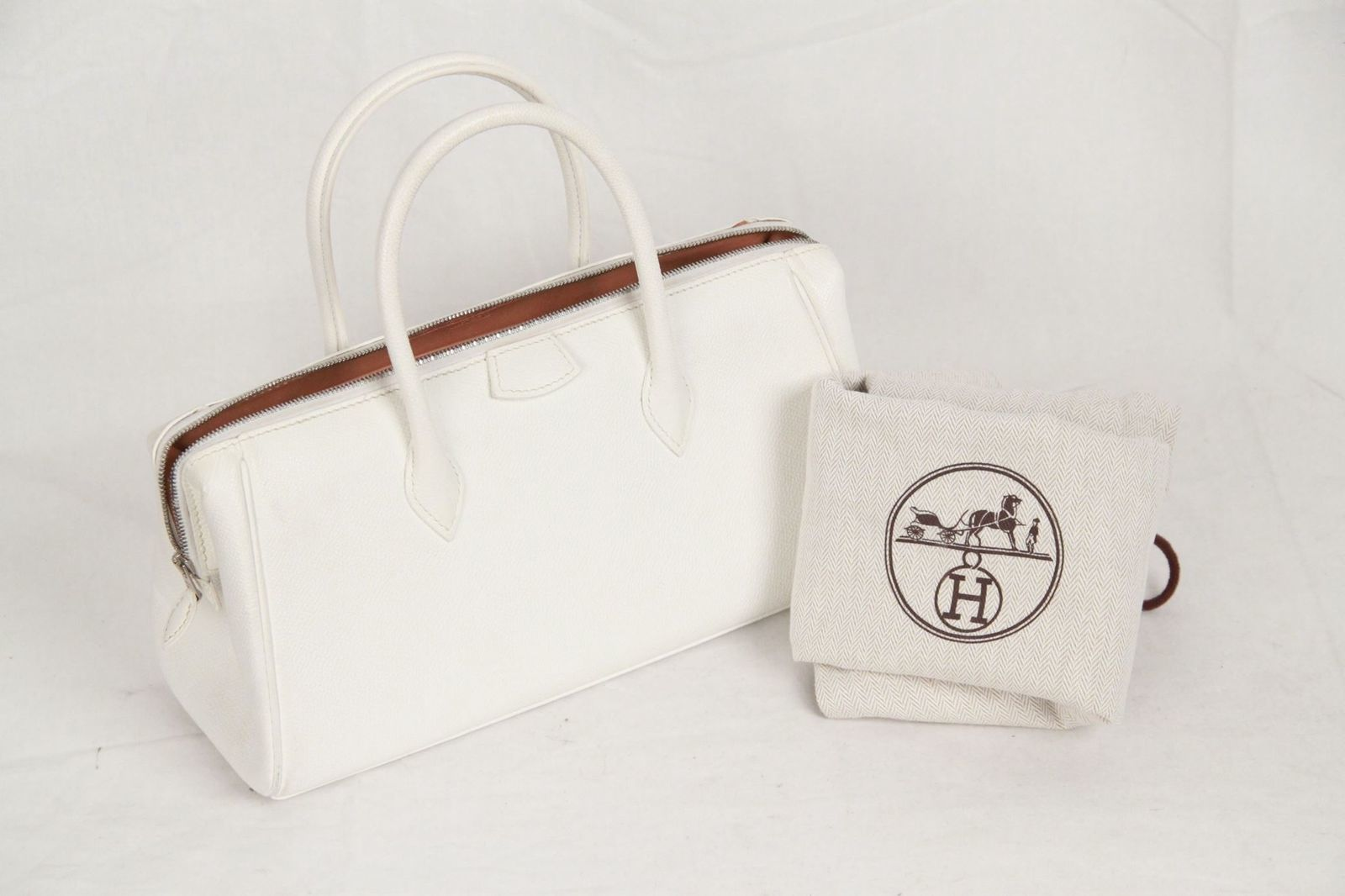 aeea0b45ecf7 Authentic Hermes Paris White Leather Paris and 50 similar items