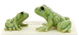 Hagen-Renaker Miniature Ceramic Frog Figurine Tiny Papa Frog and Baby Frog Set image 2